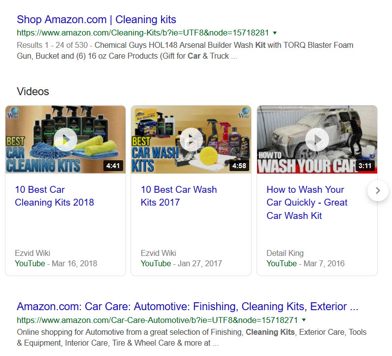 search results for car cleaning kit in google