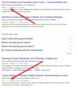 costco search results in google with arrows pointing at bad reviews