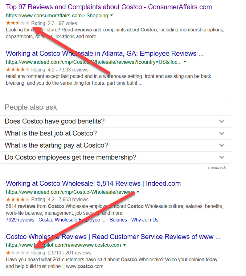 costco search results in google