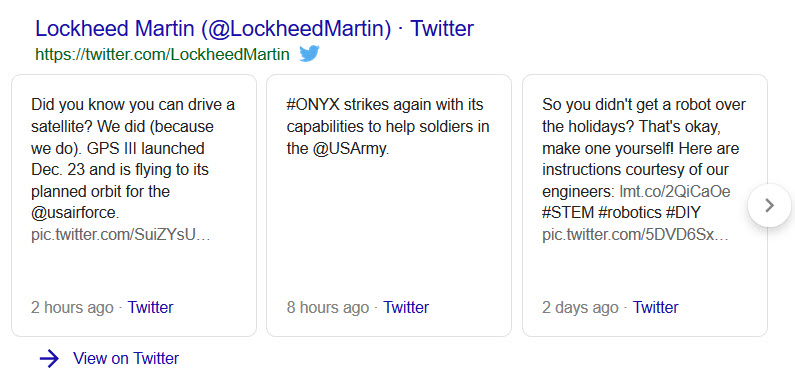 lockheed martin twitter feed result