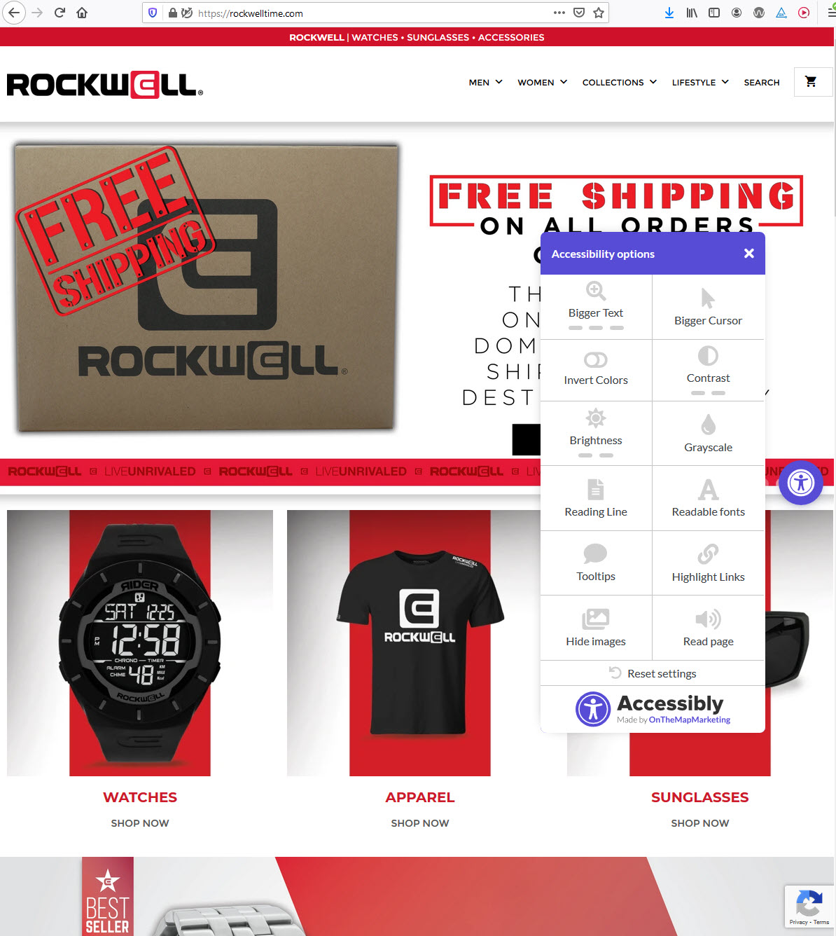 RockwellTime.com homepage with Accessibly toolbar menu widget open