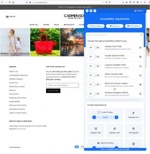 Carmensol homepage with AccessiBe toolbar menu open