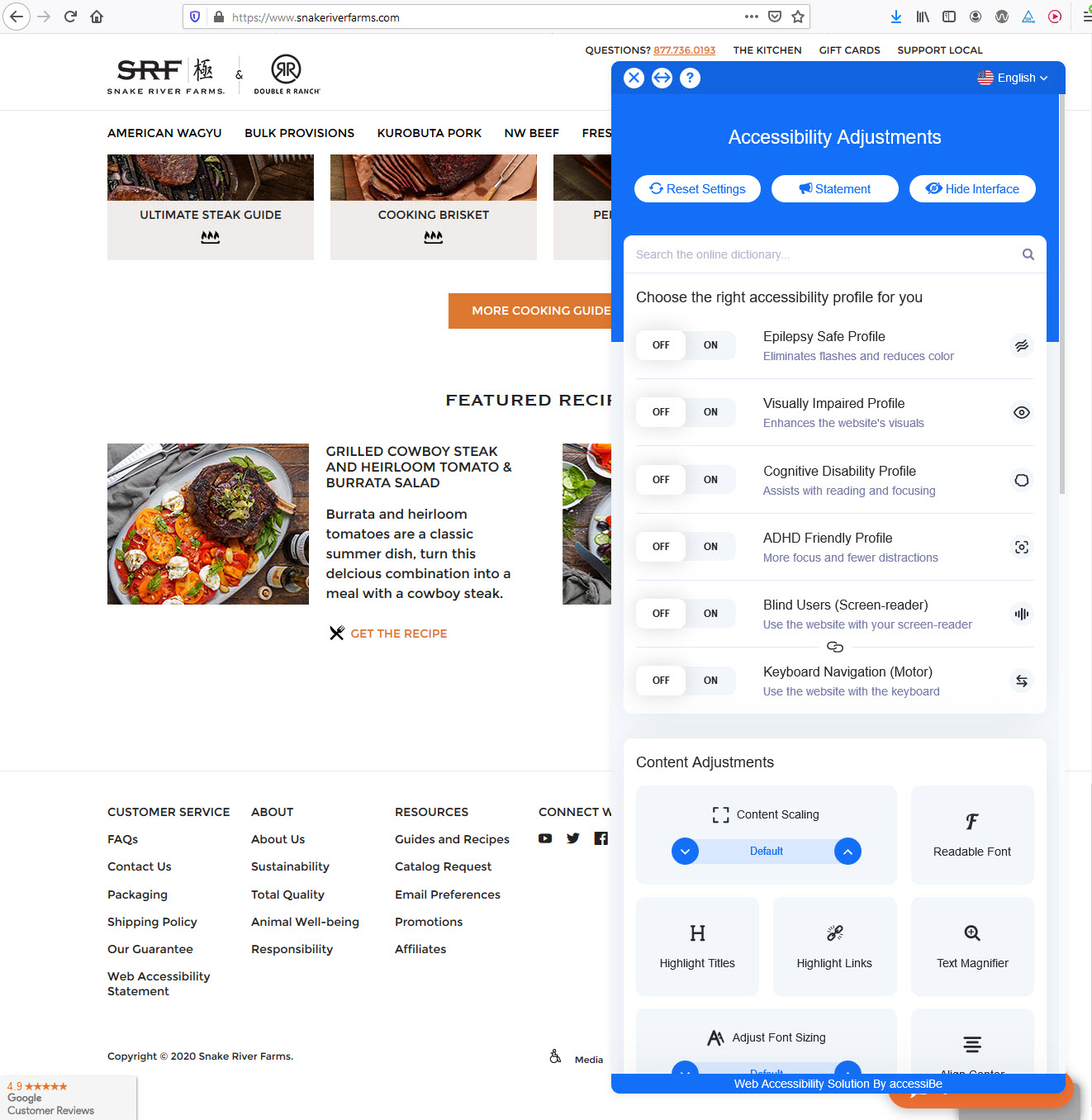 SnakeRiverFarms.com homepage with AccessiBe toolbar menu open