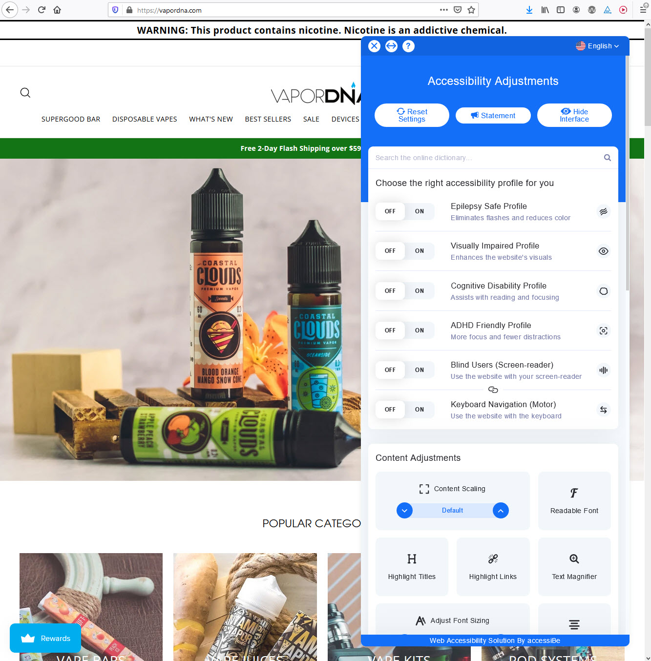 vapordna.com homepage with accessibe menu open